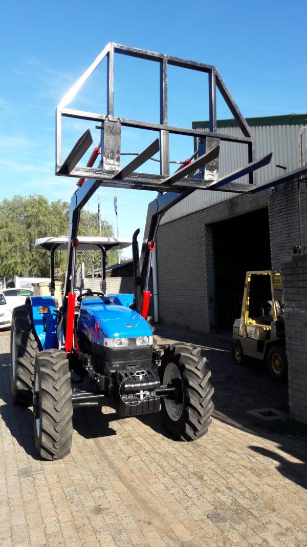 Front end loader with balefork